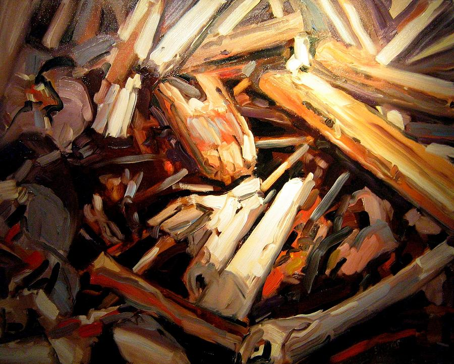 Landscape Paintings Painting - Driftwood by Brian Simons