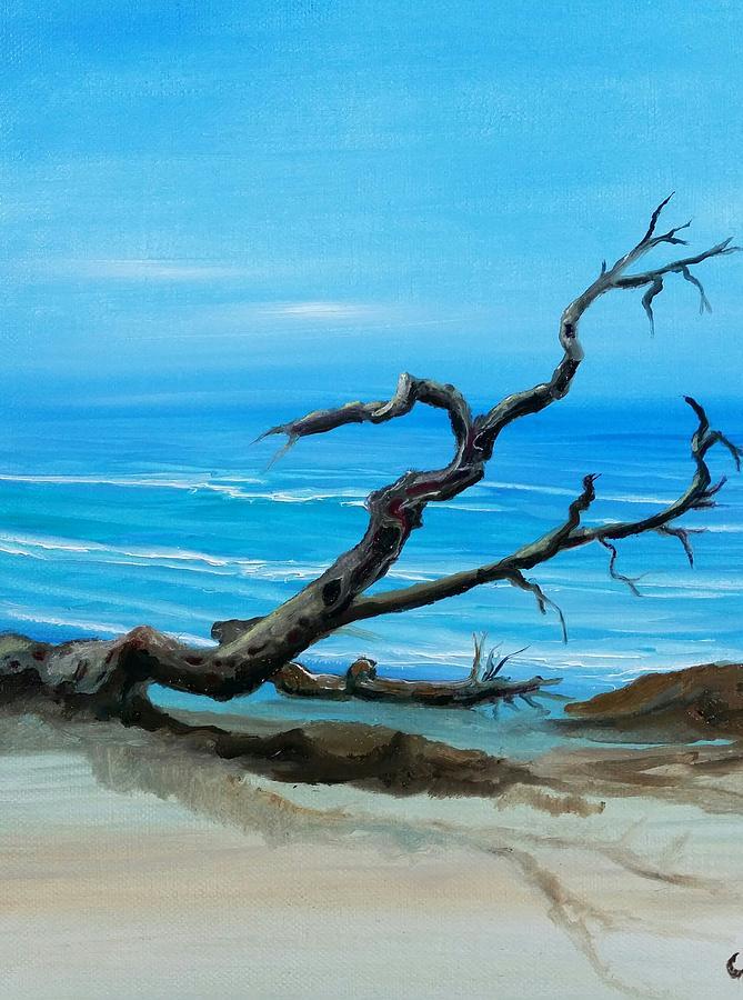 Seashore Painting - Driftwood by Cindy Harvell