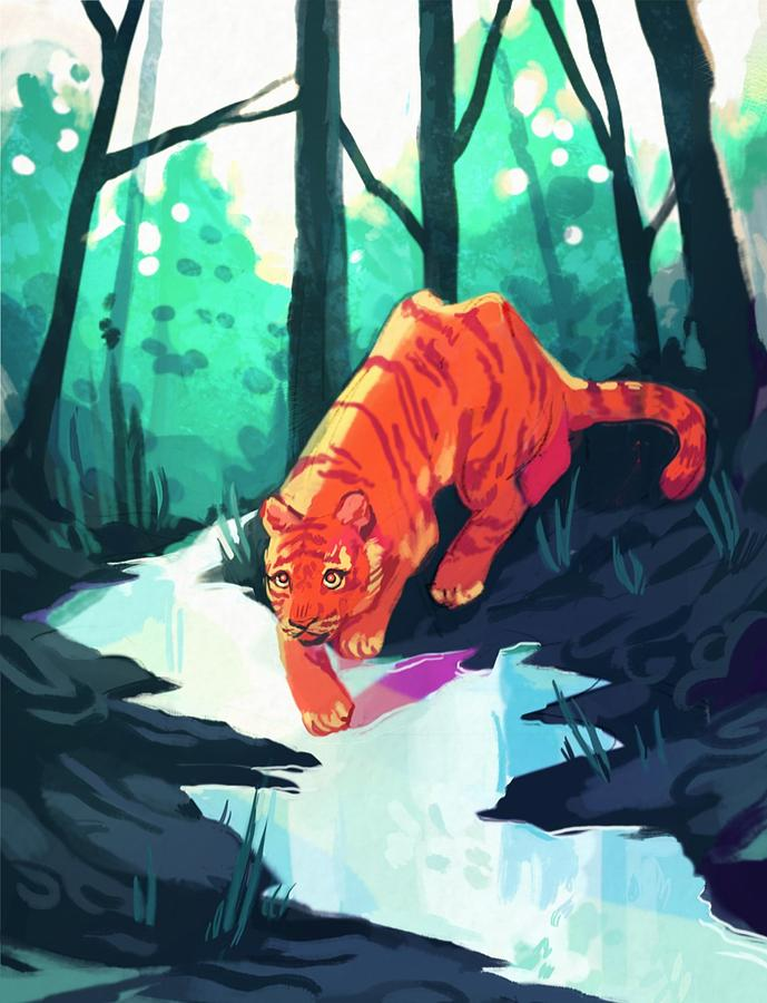Tiger Digital Art - Drinking At The Stream by Ellan Suder
