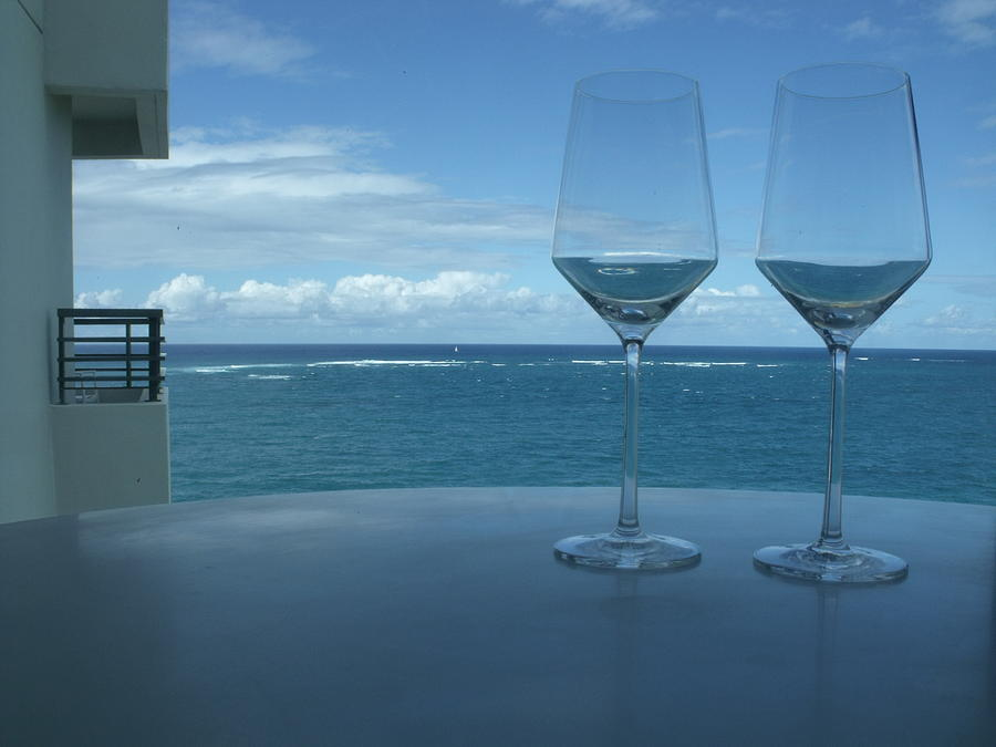 Wine Glasses Photograph - Drinks On The Terrace by Anna Villarreal Garbis