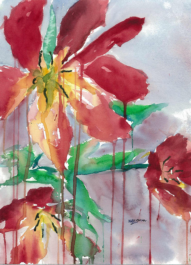 Red Painting - Drippy Tulips by Mary Lomma