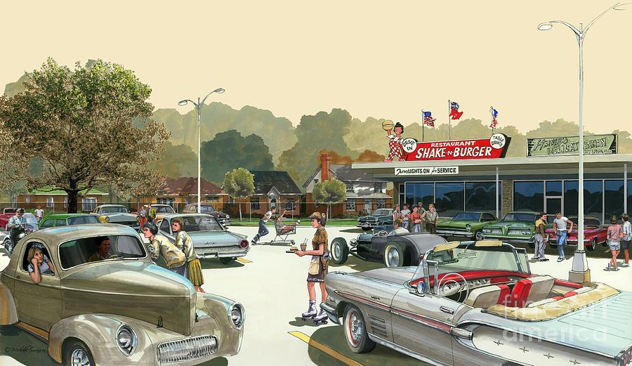 Ford Painting - Drive In Days by Michael Swanson
