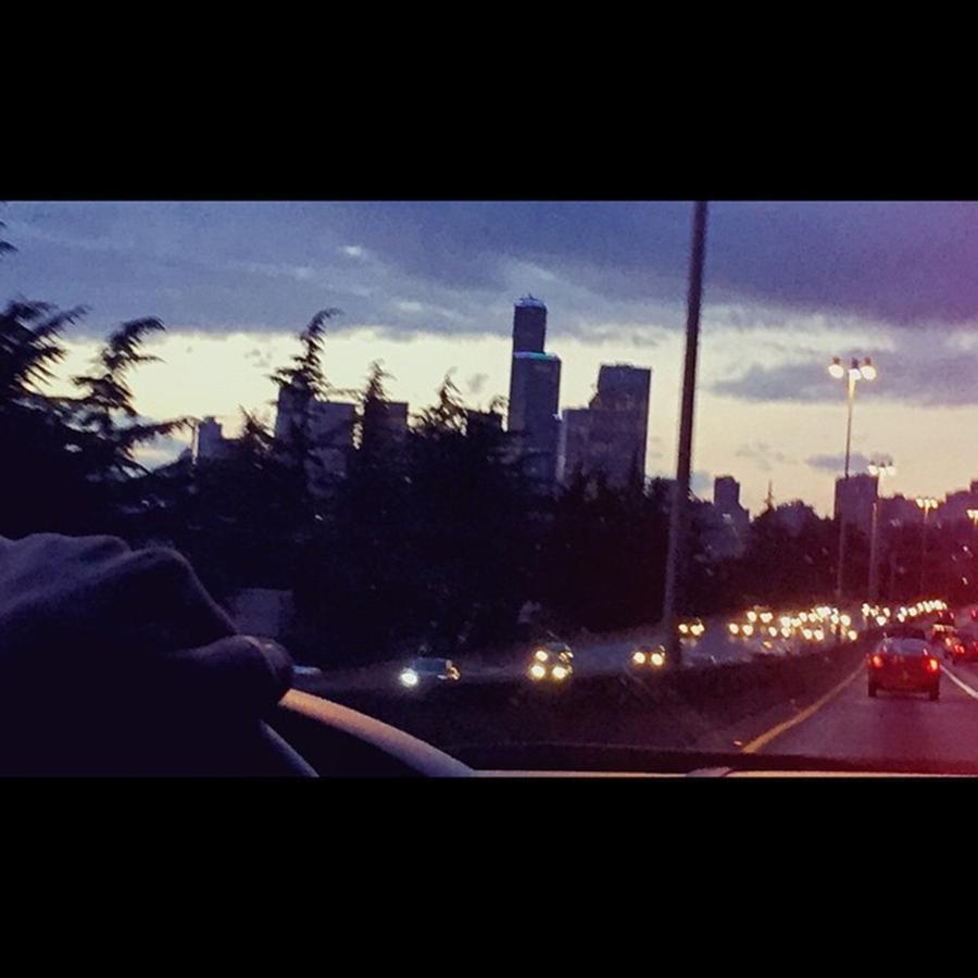 Enlight Photograph - Drive Thru Seattle #enlight #highway by Joan McCool