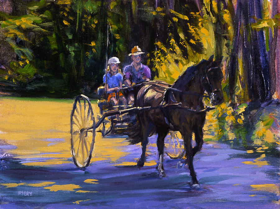 Horse Painting - Driver Training by Ken Fiery