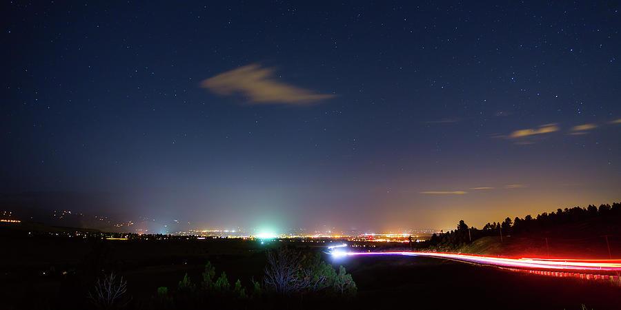 Driving Into Boulder Colorado City Lights Photograph