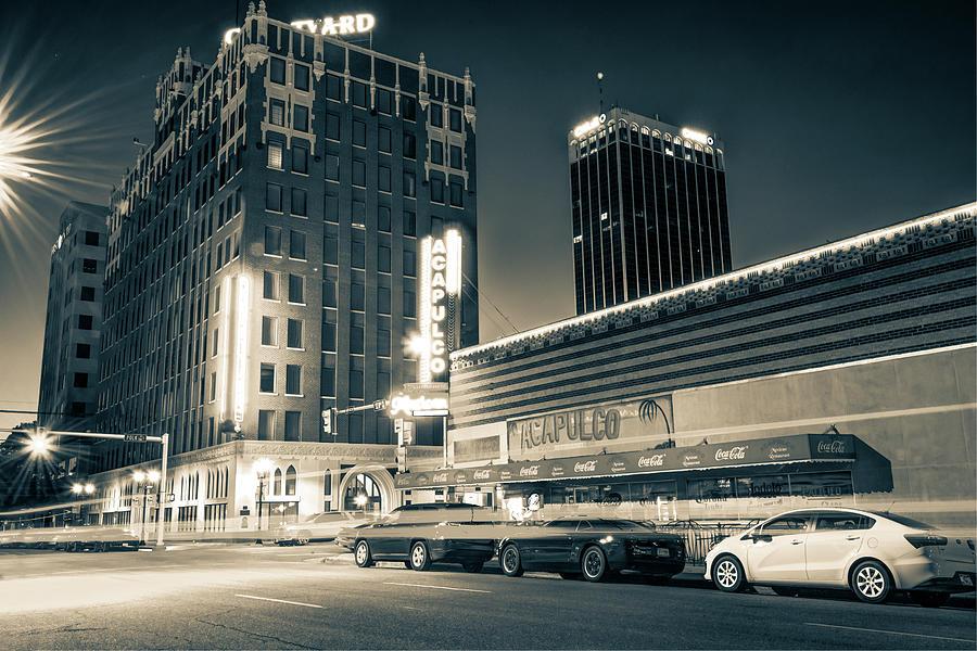 Texas Artwork Photograph - Driving Through Downtown Amarillo Texas - Sepia  by Gregory Ballos