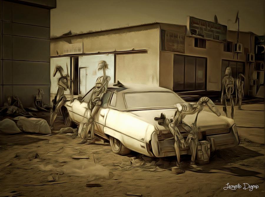 Star Wars 7 Painting - Droids At Battle Break by Leonardo Digenio