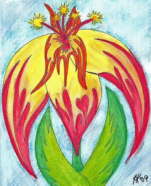 Flower Painting - Drooping Flames by Theraisa K