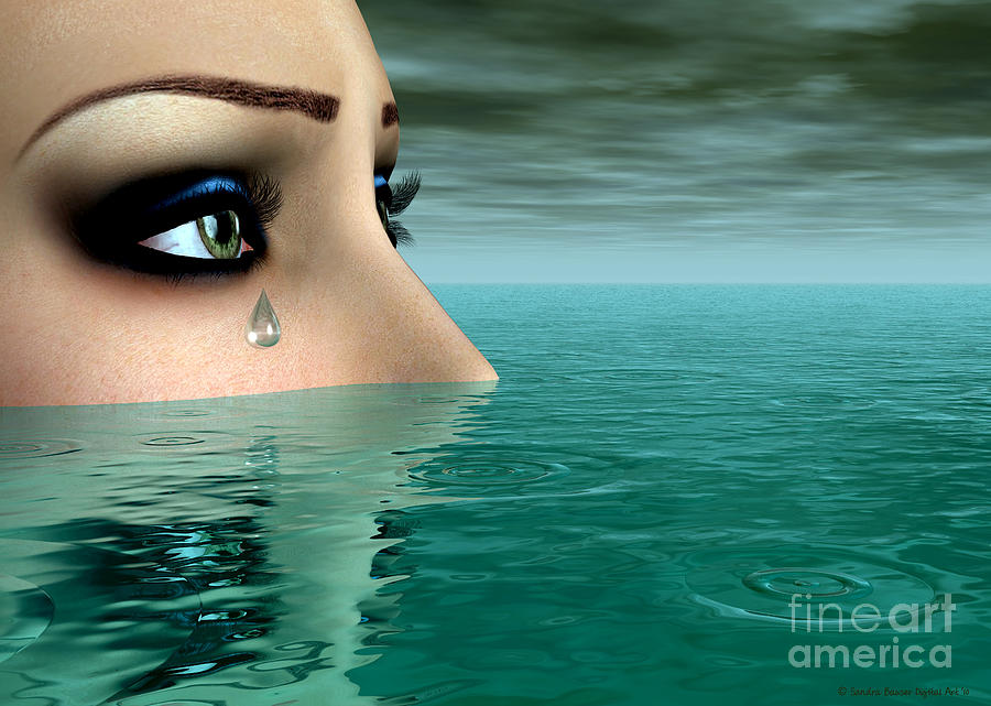 Bryce Digital Art - Drowning In A Sea Of Tears by Sandra Bauser Digital Art