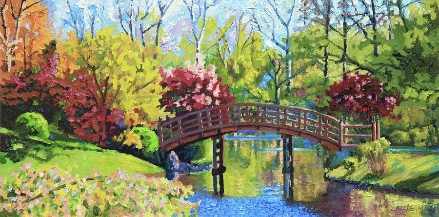 Autumn Painting - Drum Bridge in Autumn by John Lautermilch
