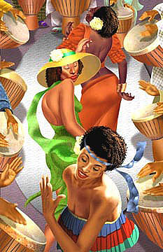 Drum Circle Painting by Wendell Wiggins