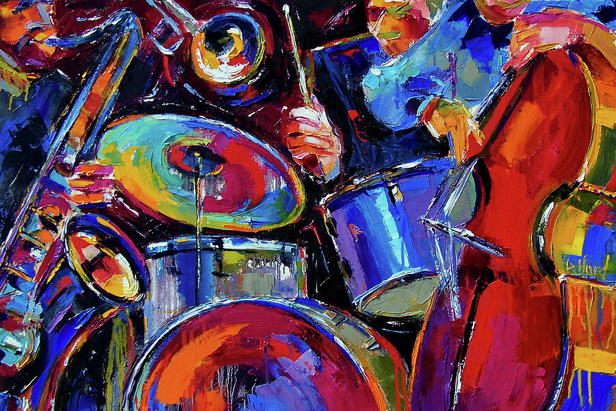 Jazz Painting - Drums And Friends by Debra Hurd