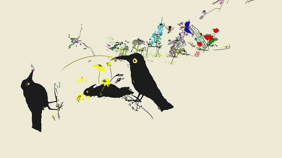 Drunkin Birds Come Calling Digital Art by Debbi Saccomanno Chan