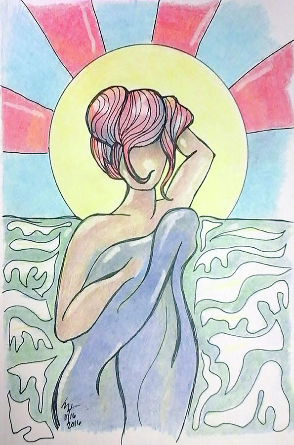 Color Pencil Drawing - Drying Off From A Swim by Loretta Nash