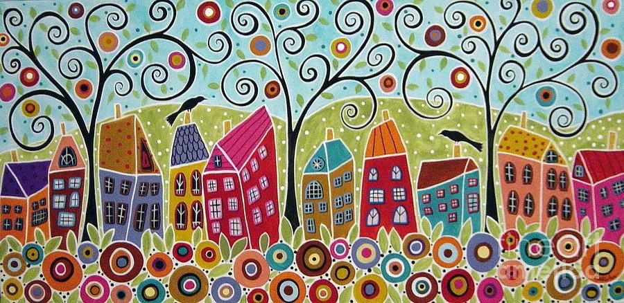 Swirl Tree Painting - DSC01598-Swirl Tree Village by Karla Gerard