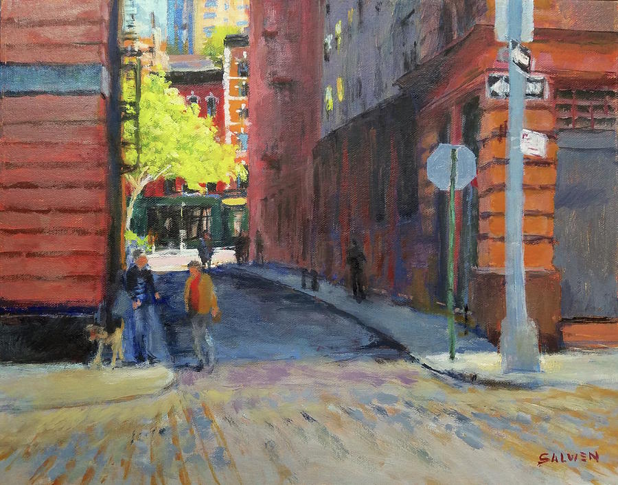 Landscape Painting - Duane Park From Staple Street by Peter Salwen