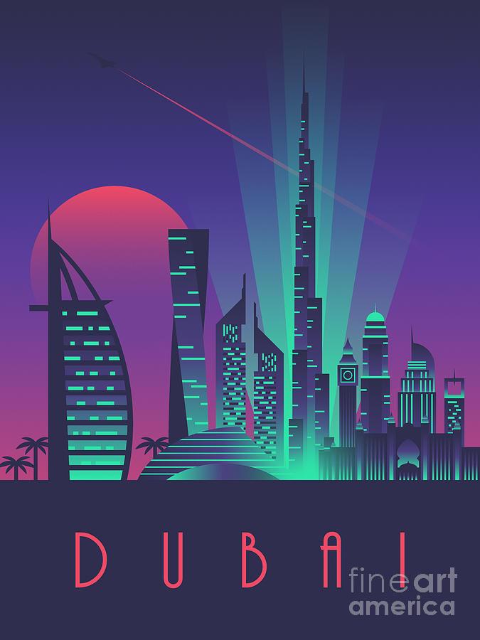 Dubai Digital Art - Dubai City Skyline Retro Art Deco Tourism - Night by Ivan Krpan