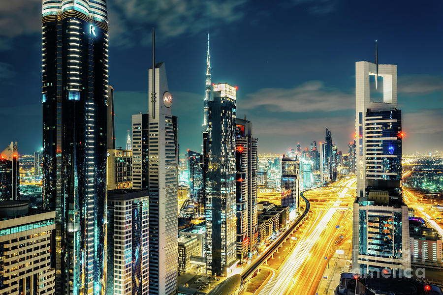 Dubai Photograph - Dubai Downtown Architecture And A Highway.  by Dmitrii Telegin