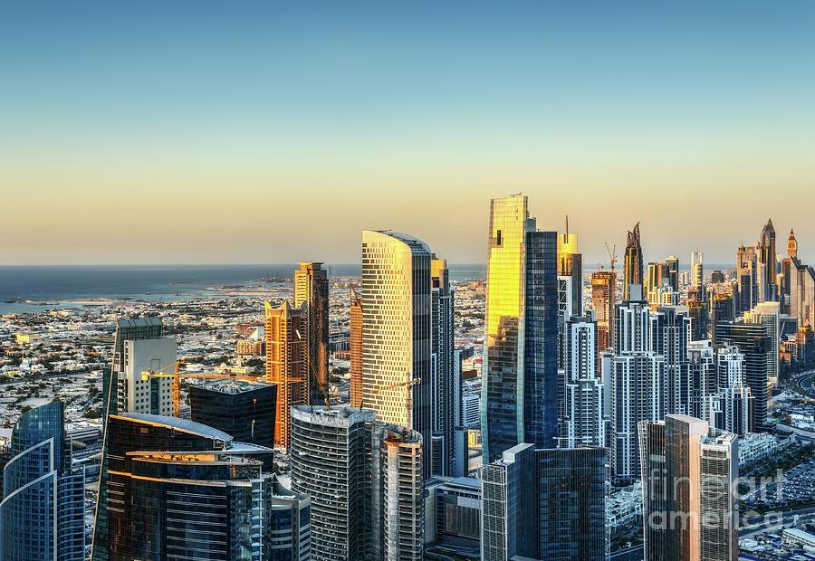 Dubai Photograph - Dubai Towers At Sunset. by Dmitrii Telegin