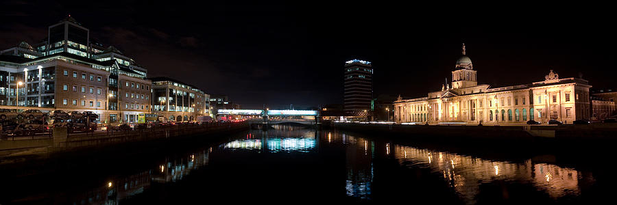 Quays Photograph - Dublin Quays By Night by Joe Houghton