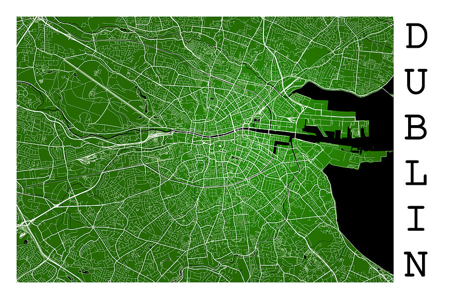 Street Map Of Ireland.Dublin Street Map Dublin Ireland Road Map Art On Green Background By Jurq Studio