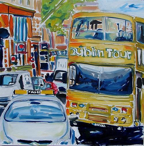 Dublin Painting - Dublin Tour Bus by Caoimhghin OCroidheain