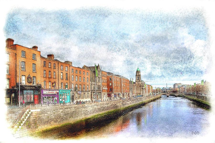 Dublin Digital Art - Dublin Watercolour by Declan ODoherty
