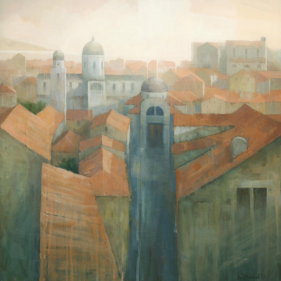 Dubrovnik Painting - Dubrovnik Rooftops by Steve Mitchell