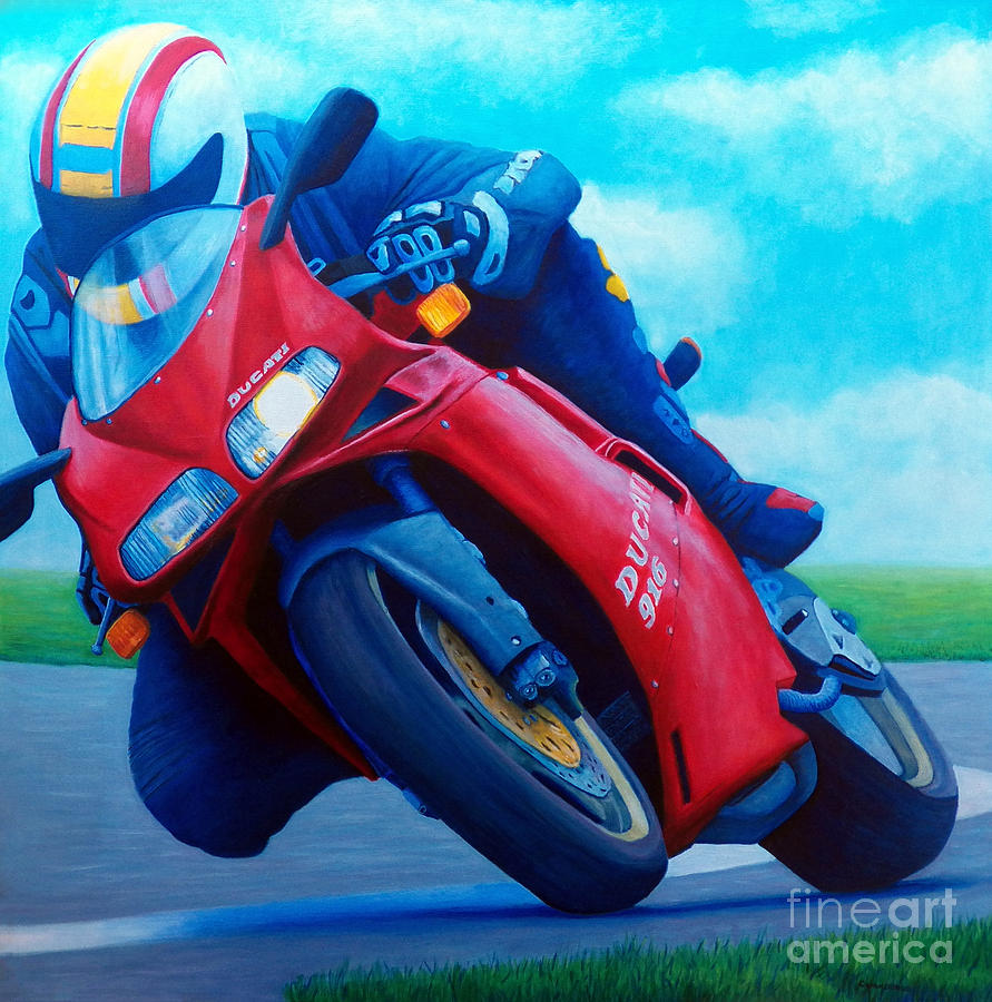 Motorcycle Painting - Ducati 916 by Brian  Commerford