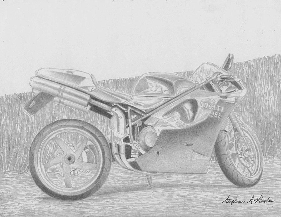 "Ducati Motorcycle print art  matted 11/"" x 14/"""
