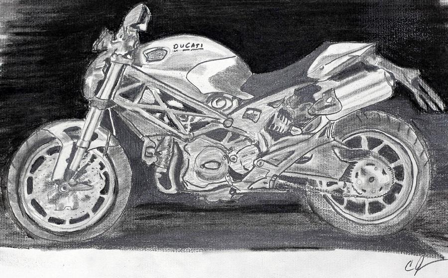 Ducati Drawing By Cathy Jourdan