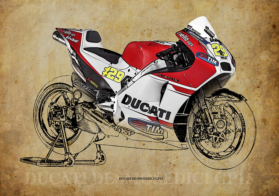 Motorcycle Drawing - Ducati Desmosedici Gp15 by Drawspots Illustrations