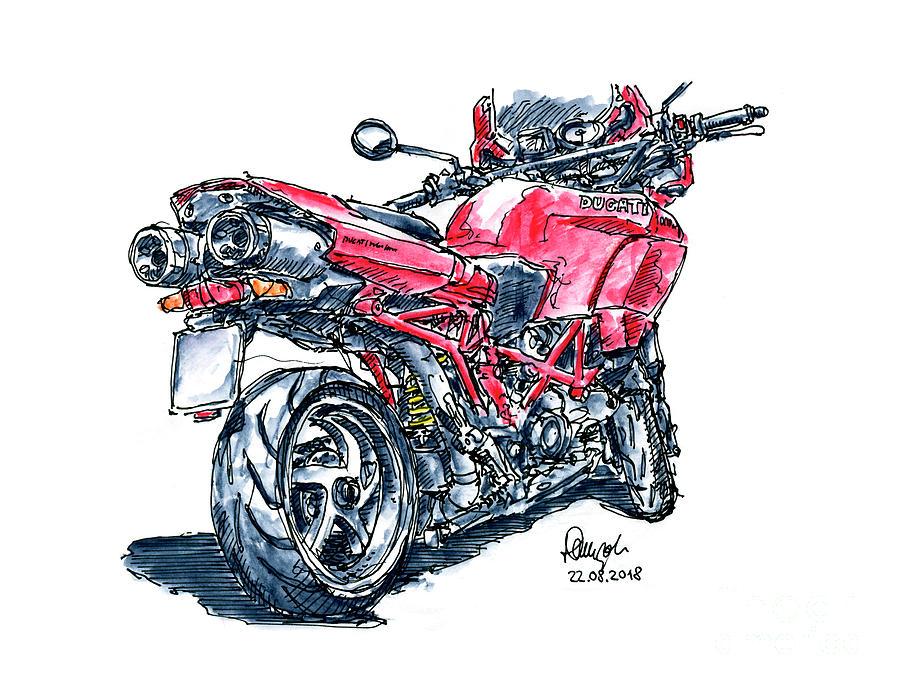 Motorbike Drawing - Ducati Multistrada 1000 DS Motorbike Ink Drawing and Watercolor by Frank Ramspott