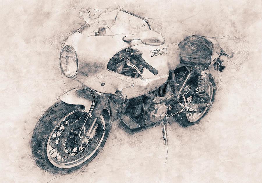 Sports Bike Mixed Media - Ducati Paulsmart 1000 Le - 2006 - Motorcycle Poster - Automotive Art by Studio Grafiikka
