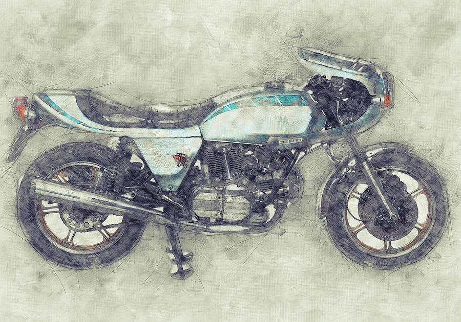 Ducati Supersport 1 - Sports Bike - 1975 - Motorcycle Poster - Automotive Art Mixed Media