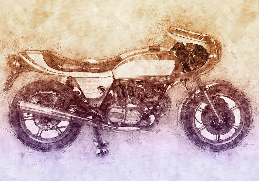 Ducati Motorcycles Mixed Media - Ducati Supersport 2 - Sports Bike - 1975 - Motorcycle Poster - Automotive Art by Studio Grafiikka