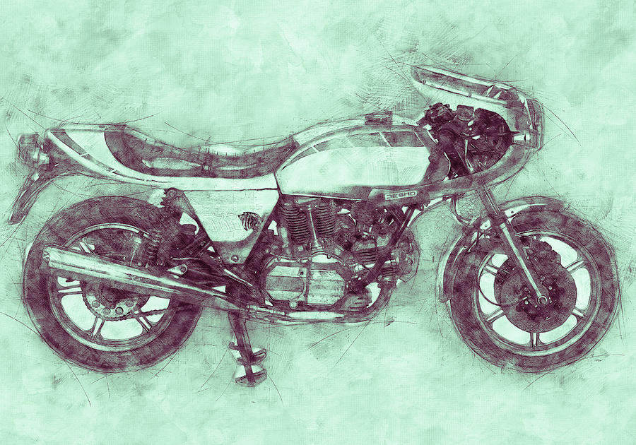 Ducati Supersport 3 - Sports Bike - 1975 - Motorcycle Poster - Automotive Art Mixed Media