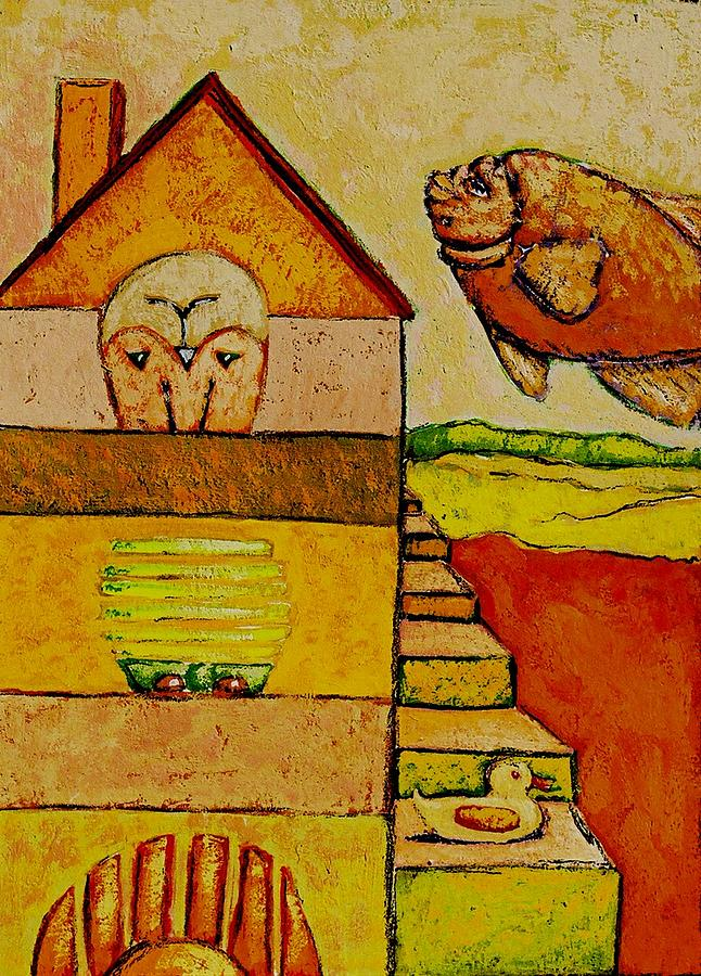 Duck Painting - Duck And House by Ronald Walker