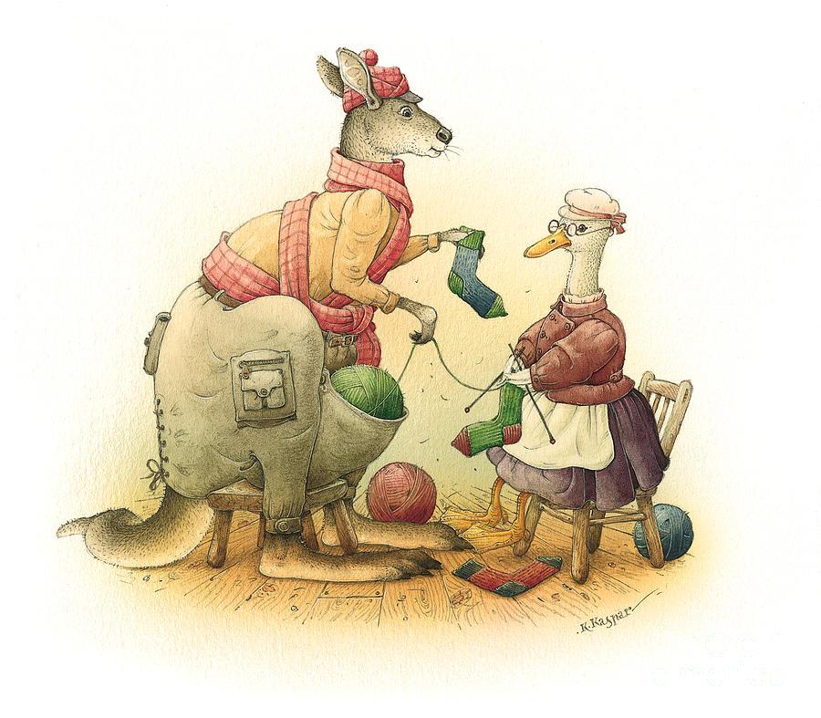Duck Greeting Cards Kangaroo Painting - Duck And Kangaroo by Kestutis Kasparavicius