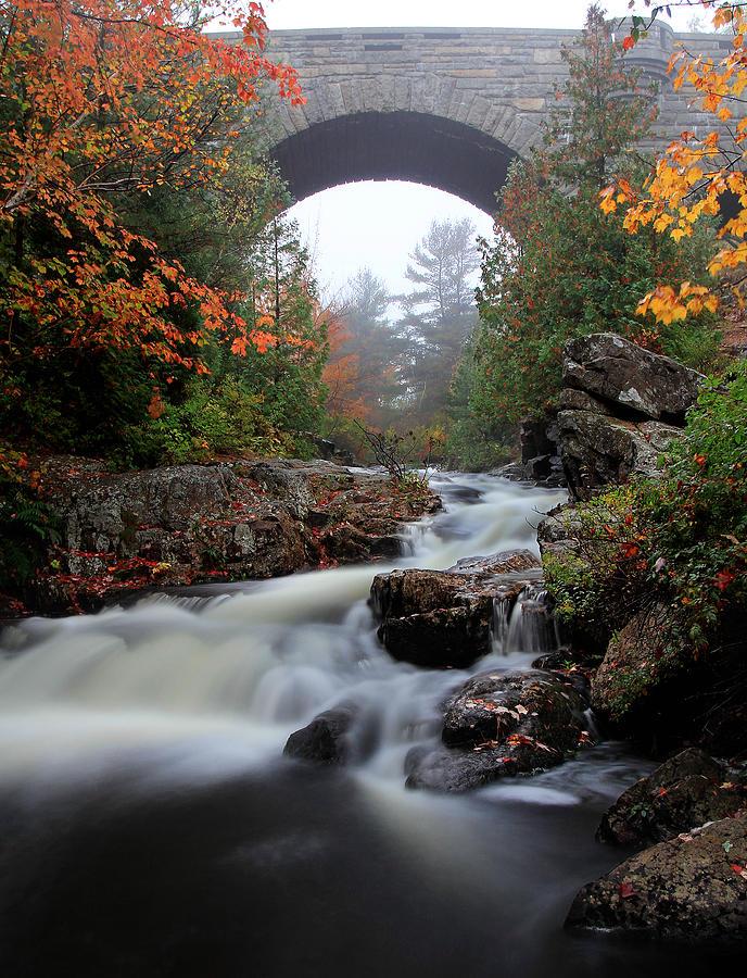 Water Photograph - Duck Brook Bridge In The Rain by Dave Sribnik