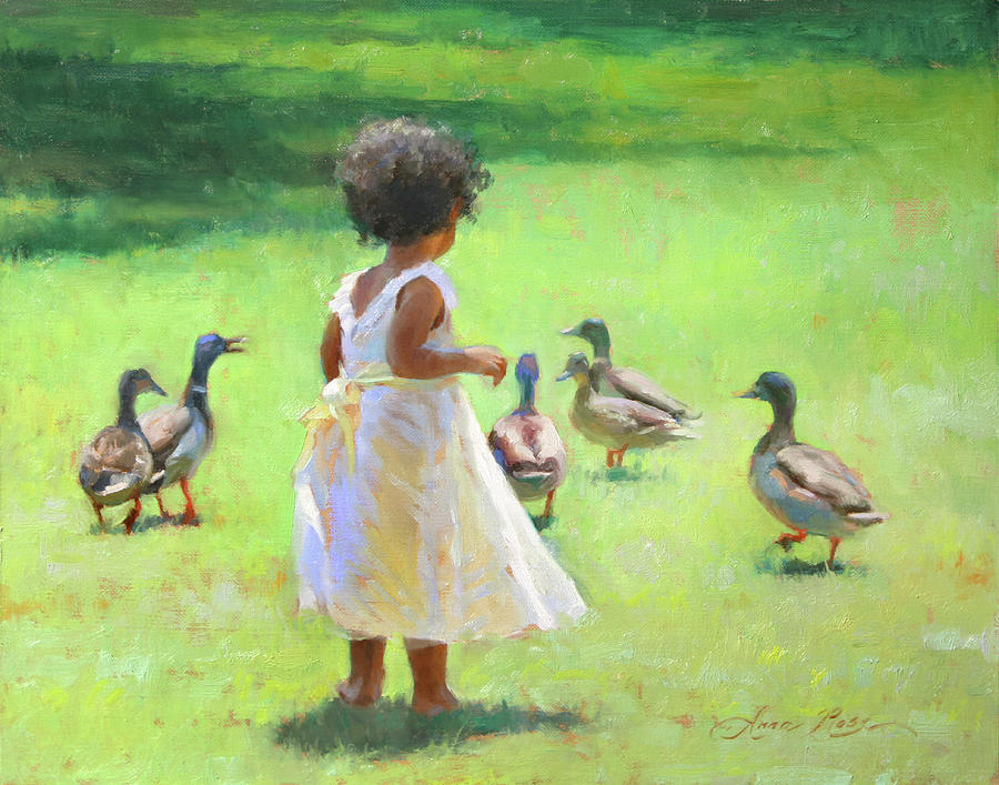 Ducks Painting - Duck Chase by Anna Bain