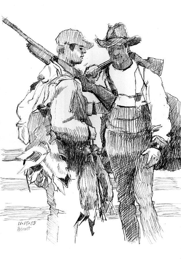duck hunters drawing by robert bissett
