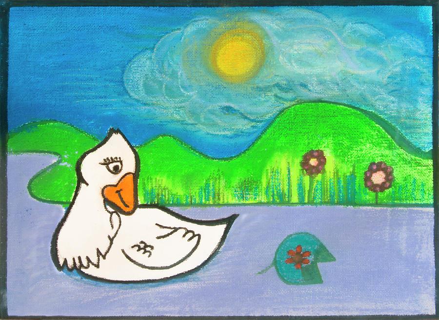 Lotus Drawing - Duck by Lynette Fekete