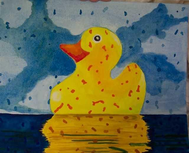 Rubber Ducky Painting - Duckie by Lori Tan