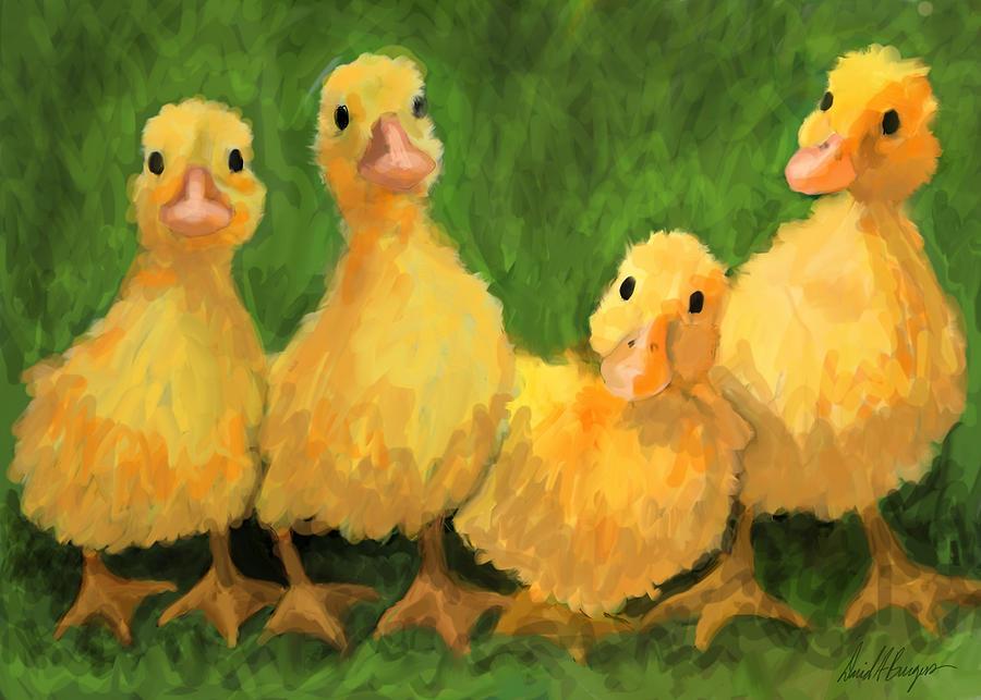 Chicks Digital Art - Fuzzy Duckies by David Burgess