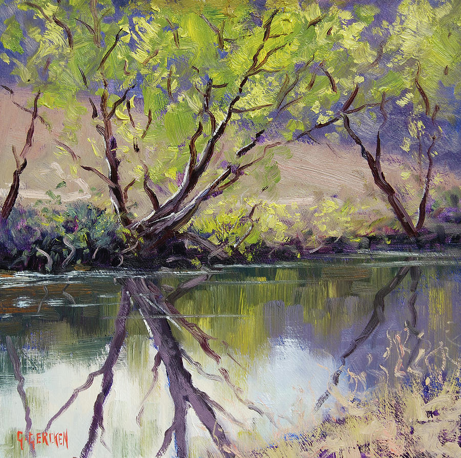 River Painting - Duckmaloi River Reflections by Graham Gercken