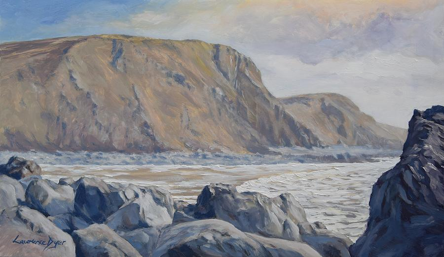 Cornwall Painting - Duckpool Boulders by Lawrence Dyer