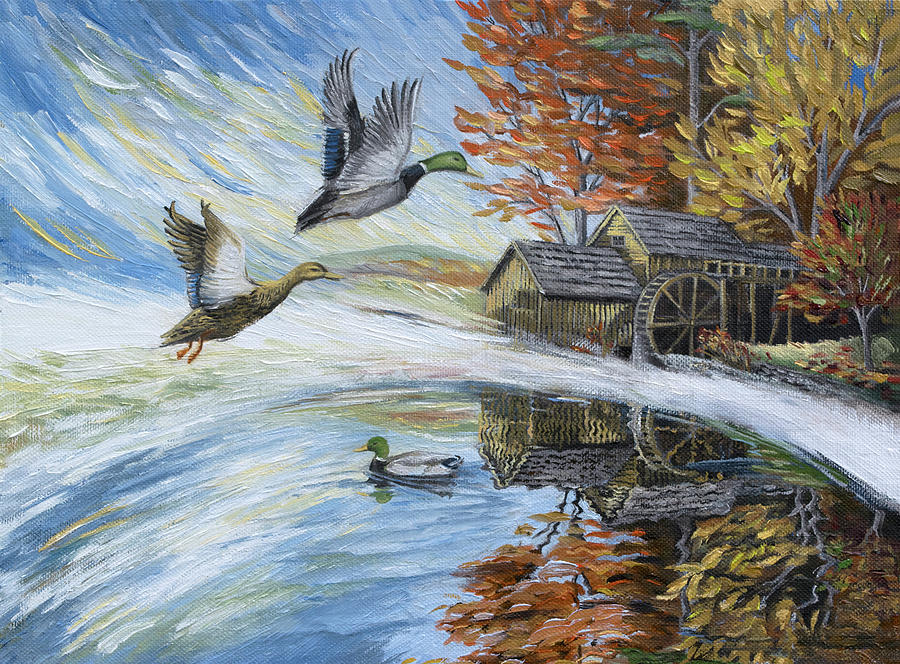 Ducks Painting - Ducks On The Millpond by Paula McHugh