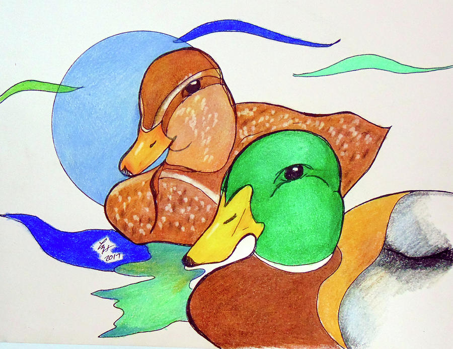 Ducks Drawing - Ducks2017 by Loretta Nash