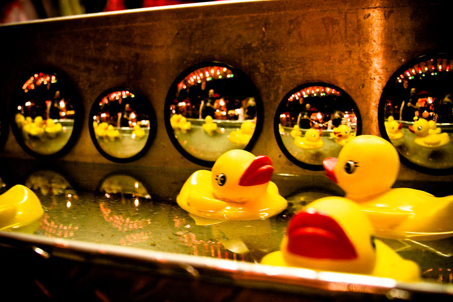 Rubber Ducks Photograph - Ducky Reflections by Toni Hopper